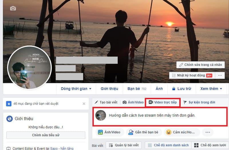 cách livestream trên facebook bằng máy tính